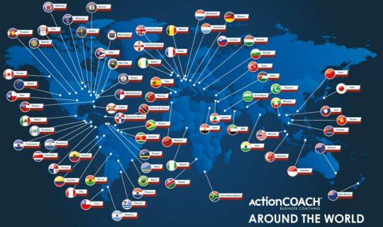 carte illustrant la présence d'ActionCOACH dans le monde